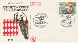 ANIMAUX   MONACO  ENVELOPPE    THEME CHIEN  N° 1676 EXPOSITION CANINE  INTERNATIONALE - Altri