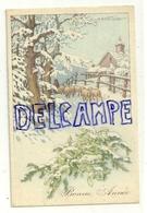 Bonne Année. Troupeau De Dans La Neige, Gui, Moutons. 1939. Signée Bertiglia - Bertiglia, A.