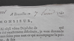 Envoi Recommandé - Aangetekende Zending 07-06-1761, De Bruxelles à Bruges  Lettres. Diligence TOUR Et TASSIS - 1714-1794 (Pays-Bas Autrichiens)