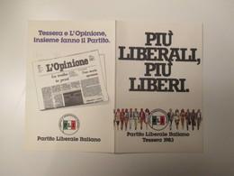 1983 TESSERA Partito LIBERALE Italiano Segretario Valerio Zanone - Alte Papiere