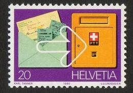 Helvetia / Postal Cheque & Letterbox / 1980 / 20 / Karl Tanner / Courvoisier - Suisse