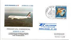 PREMIER VOL COMMERCIAL PARIS-VENISE PAR AIRBUS A 320 1988 - Airplanes