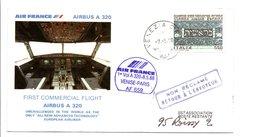 PREMIER VOL COMMERCIAL VENISE-PARIS PAR AIRBUS A 320 1988 - Airplanes