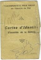 Militaria. Carte Identité D'Invalide De Guerre. Chemin De Fer. 1919. - Abonnements Hebdomadaires & Mensuels