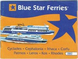 Blue Star Ferries. Horaire 2002. Timetable. - Bateaux
