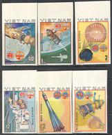 1883.2 ✅ Raumfahrt Rockets Satellite Intercosmos 1980 Viet Nam 6v Set MNH ** Imperf Imp 11ME - Espacio