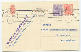 1921 Dänemark GA Postkarte Kopenhagen Nach Elberfeld - Interi Postali