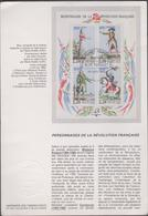 FRANCE 1 Notice Premier Jour De La Poste N°YT BF 10 - 24 Juin 1989  Bicentenaire Révolution Française Personnages Célébr - Revolución Francesa