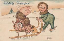 CPA Animal Humanisé Position Humaine Cochon Porc Pig Sport D' Hiver Luge Patinage Patins à Glace Illustrateur BROWALD - Cochons