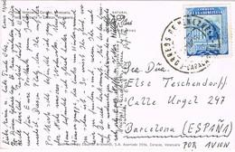 34811. Postal Aerea CARACAS (Venezuela) 1953 A España, Barcelona. Plaza Venezuela - Venezuela