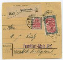 1922 Deutsches Reich Paketkarte Gandersheim Nach Frankfurt - Covers & Documents