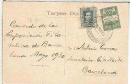 TARJETA CON MAT EXPOSICION FILATELICA NACIONAL 1930 BARCELONA - 1889-1931 Royaume: Alphonse XIII