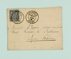 Grenoble Juil. 1885, Oblitération Daguin Jumelé Sur 15c Type Sage - Postmark Collection (Covers)