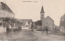 ECHEVRONNE - LA PLACE - BELLE CARTE ANIMEE - CYCLISTE - VEHICULE AUTOMOBILE - 2 SCANNS -  TOP !!! - Other Municipalities