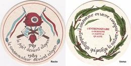 Sous-bock 1789-1989 Citoyen Consommateur Verre Consigné Environnement - Sous-bocks