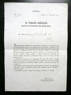 Circolare Vicario Generale Diocesi Di Modena Seppellimento Nati Morti Corlo 1852 - Old Paper