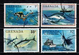 Grenada 1976/77 - Mi 729, 734, 736, 838, Sc 695, 701, 703, 800  Vissen / Poissons / Fishes (4 Val.) Used - Grenade (1974-...)
