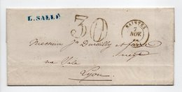 - Lettre SAINTES (Charente-Maritime) Pour LYON 7 NOV 1862 - Taxe Tampon 30 Centimes - - Postmark Collection (Covers)