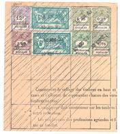 Timbres Fiscaux Sociaux Sur Document Retraite Assurances 12F 3F50 0F75 1F75 3F Merson 6F Ob 1931 Yv 18 13  6 10 12 25 - Fiscales
