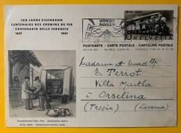 9453 - Centenaire Des Chemins De Fer 1847-1947 Bern 21.08.1947 - Interi Postali