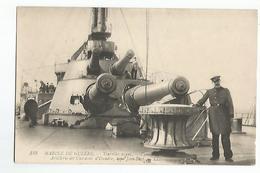 CPA Marine De Guerre Tourelles Avant Artillerie Des Cuirassés D'escadre Type Jean Bart - Guerre