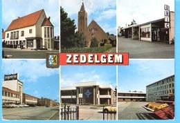 Groeten Uit  Zedelgem-6 Zichten -Multivues-Gemeentehuis- Kerk-Unic-Supéria (Fietsen,Bromfietsen....) - Zedelgem