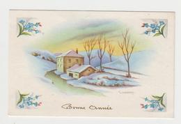 AC262 - MIGNONETTE - Bonne Année - Paysage D'hiver Signé GOUGEON - Série 660 - Nouvel An