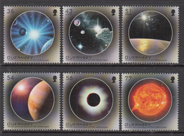 2009 Guernsey Telescope Planets Space Astronomy Complete Set Of 6 MNH @ BELOW FACE VALUE - Guernsey