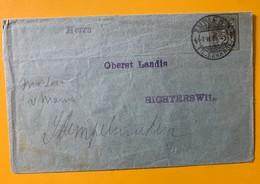9460 - Entier Privé 2 Ct Lettre Zürich 7.03.1908 Pour Richterswil - Entiers Postaux