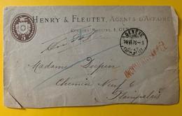 9461 - Entier Privé Henry & Fleutet Agents D'affaires  Lettre 5 Ct Brun Genève 19.06.1876 Mention Iconnu à Lâppel - Entiers Postaux