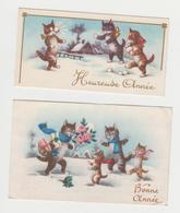 AC265 -  LOT 2 MIGNONETTES - Bonne Année - CHATS Humanisés - CAT - KATZ - Paysage D'hiver - New Year