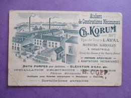 FORMAT CPA 53 LAVAL ATELIERS DE CONSTRUCTIONS MECANIQUES CH.KORUM PUBLICITE - Laval