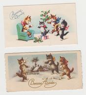 AC266 -  LOT 2 MIGNONETTES - Bonne Année - CHATS Humanisés - CAT - KATZ - Paysage D'hiver - Cadeaux - Fer à Cheval - New Year