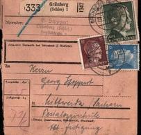 ! 1943 Paketkarte Deutsches Reich, Grünberg In Schlesien, Mittweida - Deutschland