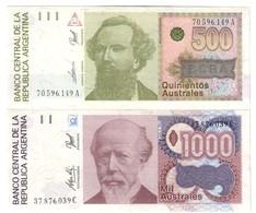 Argentina Lot Set 500 & 1000 Australes UNC - Argentina