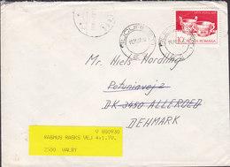 Romania BUCURESTI 1987 Cover Brief Brotype IId ALLERØD (***3) Arr. Cds REadressed Label VALBY Denmark - Cartas
