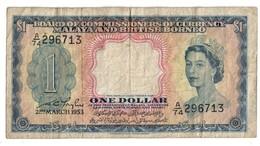 Malaya British Borneo 1 Dollar 1953 - Malesia