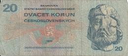 TCHECOSLOVAQUIE 20 KORUN 1970 VG+ P 92 - Cecoslovacchia