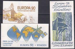 Europa Cept 1990+1991+1992 Sweden 3 Booklets ** Mnh (45318) - 1990