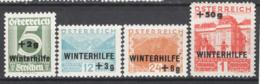 Austria 1933 Unif.437/40 */MH VF/F - Nuovi