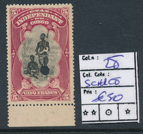 BELGIAN CONGO FILE COPY COB 28 THE SCARSET SHADE FIRST PRINTING MINT NO GUM AND DEMONETIZED HOLE - Belgisch-Kongo