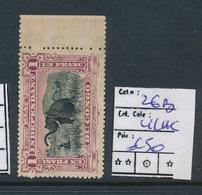 BELGIAN CONGO FILE COPY COB 26B LILAC ELEPHANT MINT NO GUM AND DEMONETIZED HOLE - 1894-1923 Mols: Neufs
