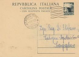 Cargheghe. 1950. Annullo Frazionario ( 58 - 22), Su Cartolina Postale Democratica L. 15 - 1946-60: Marcophilie