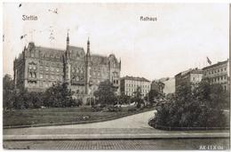 Postcard Stettin Szczecin Rathaus Und Manzelbrunnen 1912 - Pommern