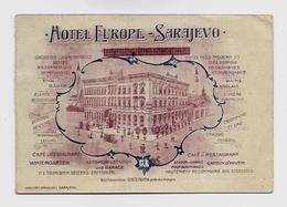 Sarajevo Hotel Europe Advertisement  Map Ca. 1910y. BIG  295 X 102 Mm.  D190 - Bosnia And Herzegovina