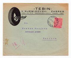 1935 YUGOSLAVIA,CROATIA,ZAGREB TO MARIBOR,TEBIN,V.NJEMIROVSKI,COMPANY'S HEAD COVER,CAR TYRE - 1931-1941 Königreich Jugoslawien