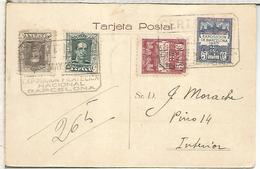 BARCELONA TARJETA CERTIFICADA 1930 MAT EXPOSICION FILATELICA NACIONAL Y AYUNTAMIENTO DE BARCELONA CF Y EF - 1889-1931 Royaume: Alphonse XIII
