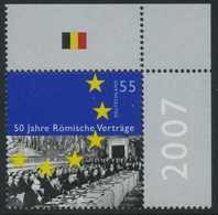!a! GERMANY 2007 Mi. 2593 MNH SINGLE From Upper Right Corner -Treaty Of Rome - Ungebraucht