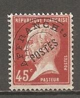 PREO Yv. N° 67  (o)   45c  Type P  Type Pasteur   Cote  3,5 Euro BE 2 Scans - Préoblitérés