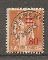 PREO Yv. N° 74  (o)   80c S 1f40  Type R  Type Paix   Cote 1,4 Euro BE   2 Scans - Préoblitérés